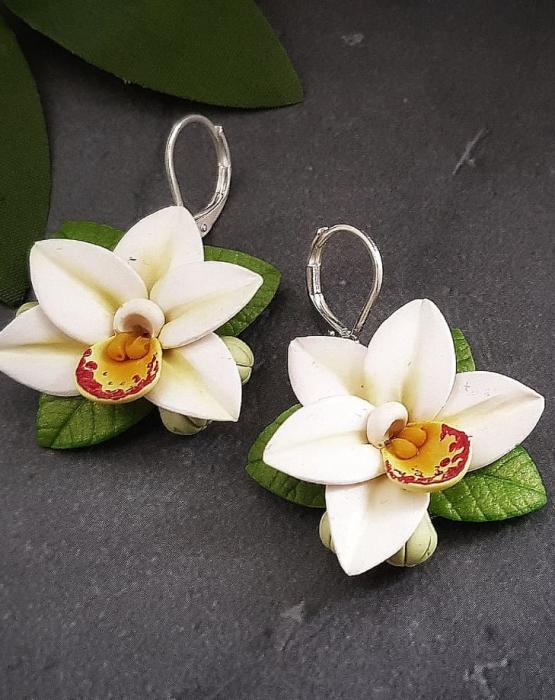"Auskari ""Orhidejas"" baltas"